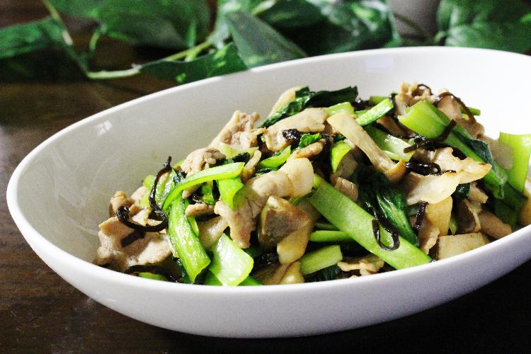 小松菜と豚とエリンギの炒めもの